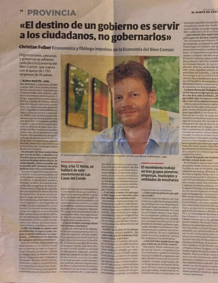 Entrevista en El Norte de Castilla
